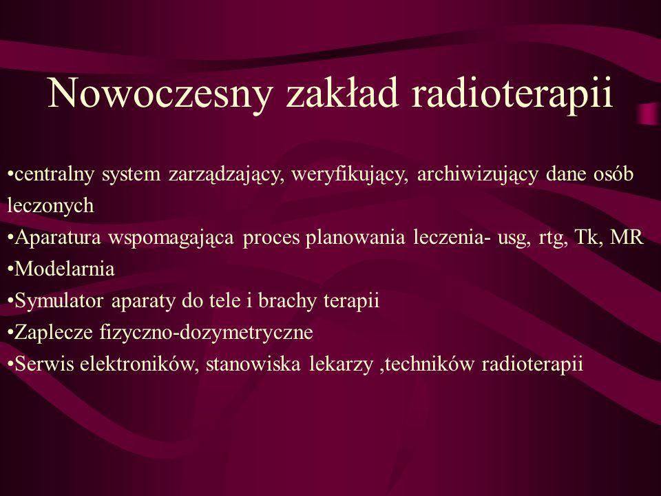 Nowoczesny zakład radioterapii centralny system zarządzający, weryfikujący, archiwizujący dane osób leczonych Aparatura wspomagająca proces planowania