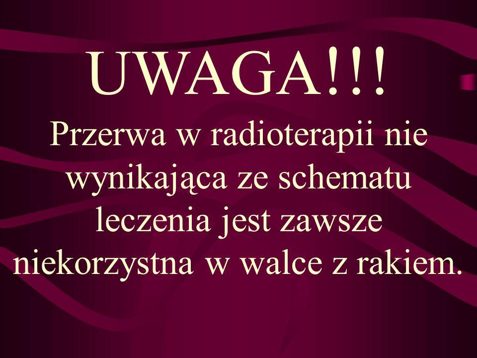 UWAGA !!! Przerwa w radioterapii nie wynikająca ze schematu leczenia jest zawsze niekorzystna w walce z rakiem.