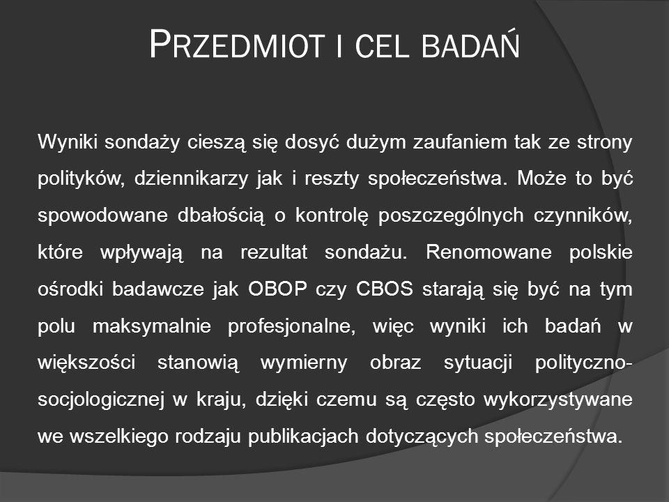 P RZEDMIOT I CEL BADAŃ Wyniki sondaży cieszą się dosyć dużym zaufaniem tak ze strony polityków, dziennikarzy jak i reszty społeczeństwa.
