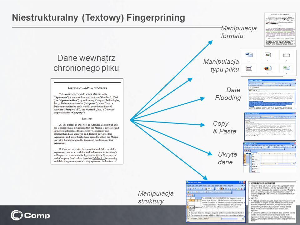21 Dane wewnątrz chronionego pliku Manipulacja typu pliku Manipulacja formatu Manipulacja struktury Copy & Paste Data Flooding Ukryte dane Niestrukturalny (Textowy) Fingerprining