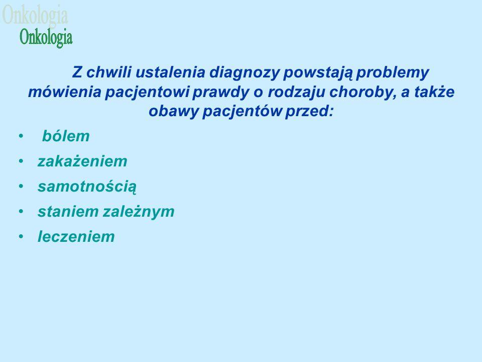 Z chwili ustalenia diagnozy powstają problemy mówienia pacjentowi prawdy o rodzaju choroby, a także obawy pacjentów przed: bólem zakażeniem samotnością staniem zależnym leczeniem
