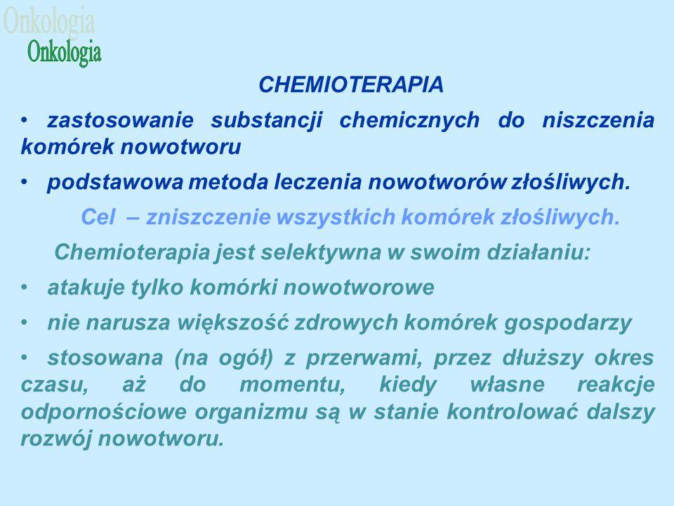 CHEMIOTERAPIA zastosowanie substancji chemicznych do niszczenia komórek nowotworu podstawowa metoda leczenia nowotworów złośliwych.