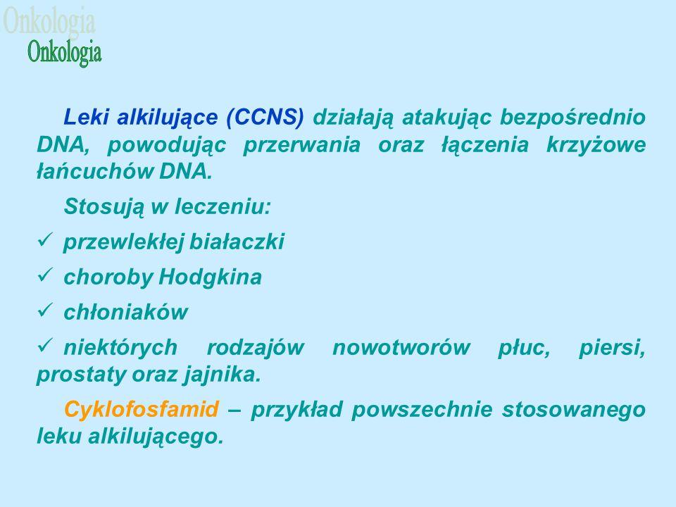 Leki alkilujące (CCNS) działają atakując bezpośrednio DNA, powodując przerwania oraz łączenia krzyżowe łańcuchów DNA.