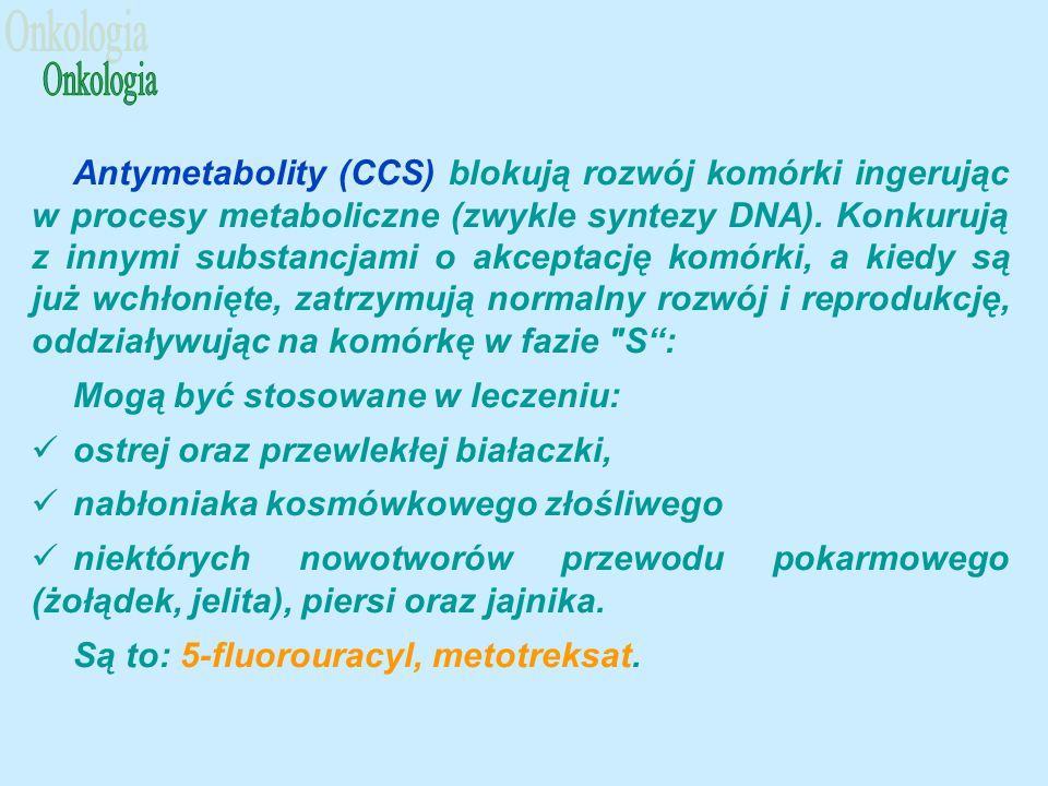 Antymetabolity (CCS) blokują rozwój komórki ingerując w procesy metaboliczne (zwykle syntezy DNA).