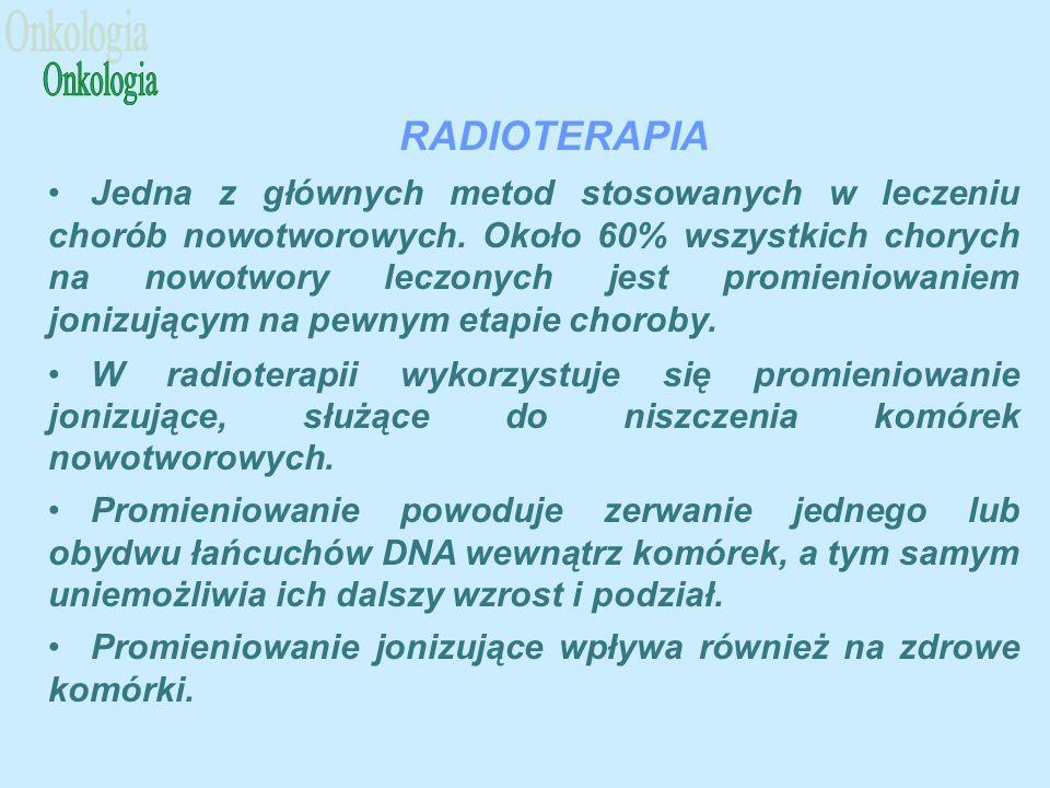 RADIOTERAPIA Jedna z głównych metod stosowanych w leczeniu chorób nowotworowych.
