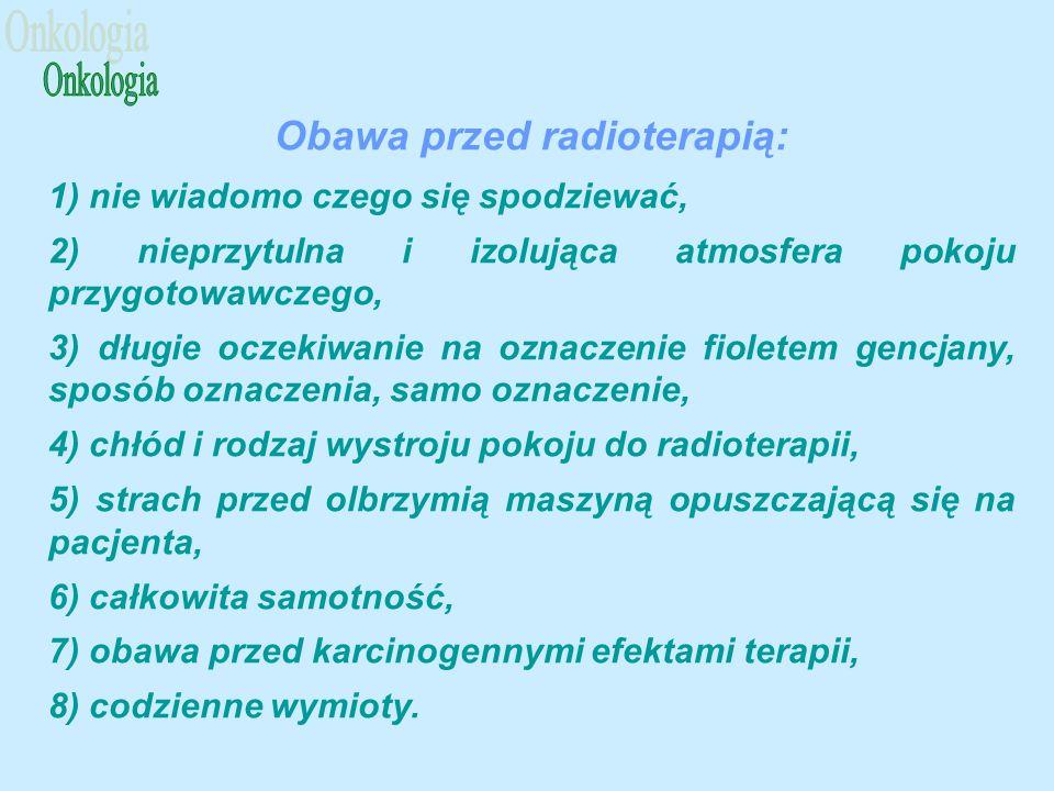 Obawa przed radioterapią: 1) nie wiadomo czego się spodziewać, 2) nieprzytulna i izolująca atmosfera pokoju przygotowawczego, 3) długie oczekiwanie na oznaczenie fioletem gencjany, sposób oznaczenia, samo oznaczenie, 4) chłód i rodzaj wystroju pokoju do radioterapii, 5) strach przed olbrzymią maszyną opuszczającą się na pacjenta, 6) całkowita samotność, 7) obawa przed karcinogennymi efektami terapii, 8) codzienne wymioty.