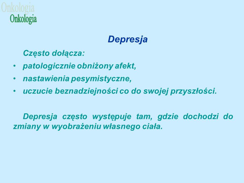 Depresja Często dołącza: patologicznie obniżony afekt, nastawienia pesymistyczne, uczucie beznadziejności co do swojej przyszłości.