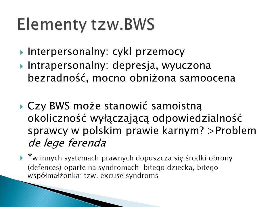  Interpersonalny: cykl przemocy  Intrapersonalny: depresja, wyuczona bezradność, mocno obniżona samoocena  Czy BWS może stanowić samoistną okoliczn