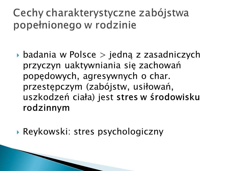  badania w Polsce > jedną z zasadniczych przyczyn uaktywniania się zachowań popędowych, agresywnych o char. przestępczym (zabójstw, usiłowań, uszkodz