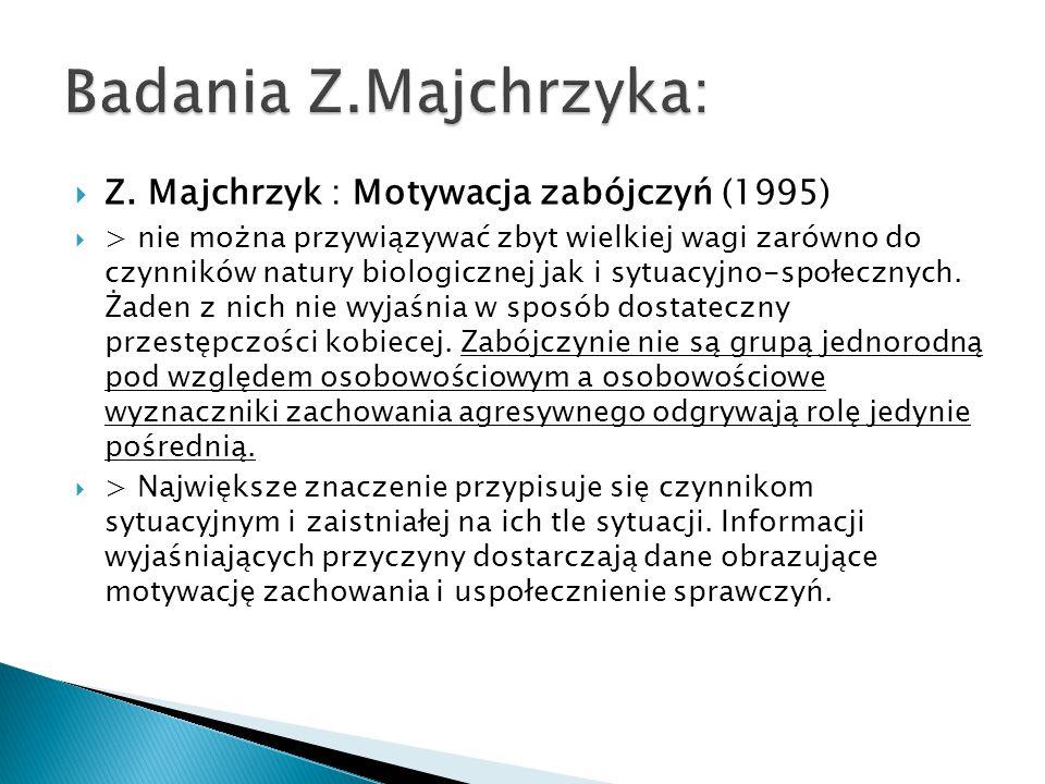 Z. Majchrzyk : Motywacja zabójczyń (1995)  > nie można przywiązywać zbyt wielkiej wagi zarówno do czynników natury biologicznej jak i sytuacyjno-sp