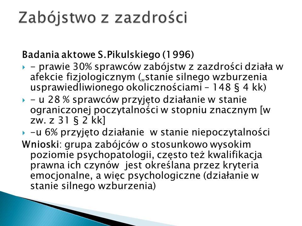 """Badania aktowe S.Pikulskiego (1996)  - prawie 30% sprawców zabójstw z zazdrości działa w afekcie fizjologicznym (""""stanie silnego wzburzenia usprawied"""