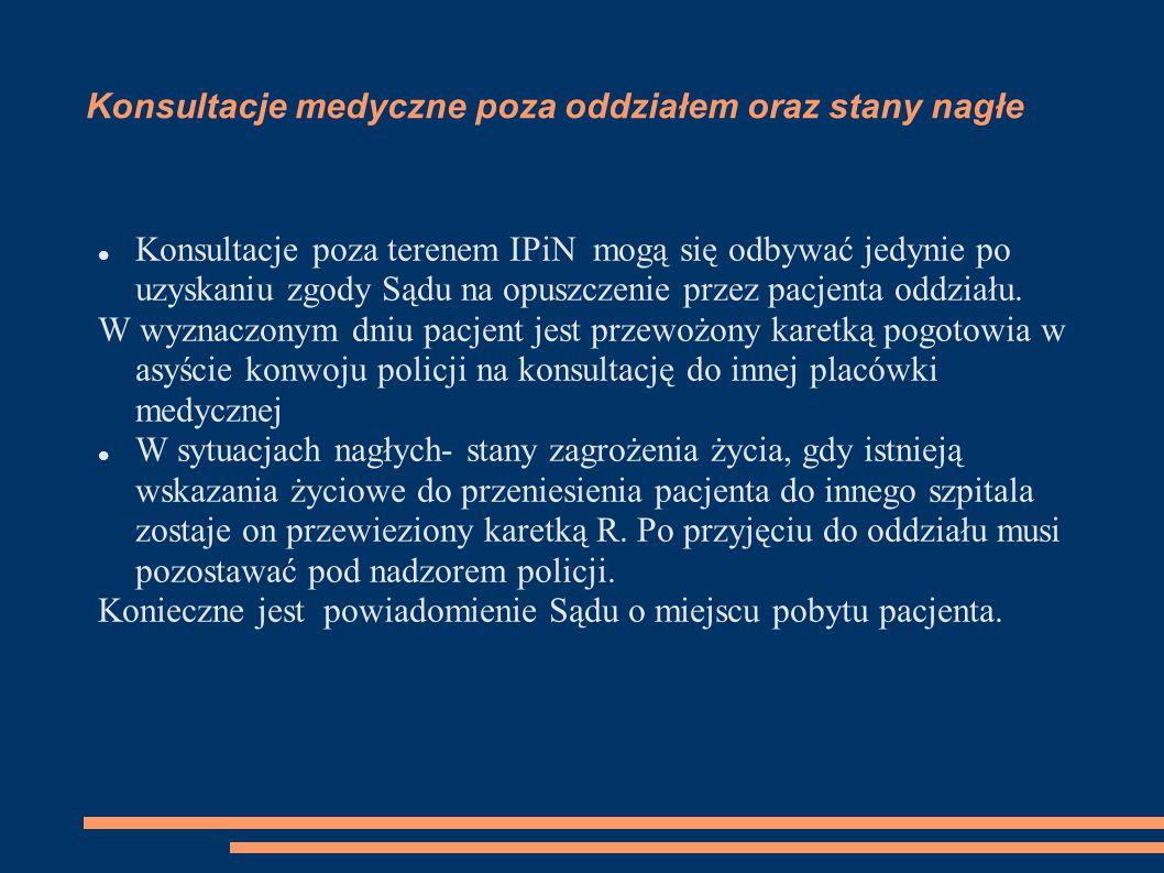 Konsultacje medyczne poza oddziałem oraz stany nagłe Konsultacje poza terenem IPiN mogą się odbywać jedynie po uzyskaniu zgody Sądu na opuszczenie przez pacjenta oddziału.