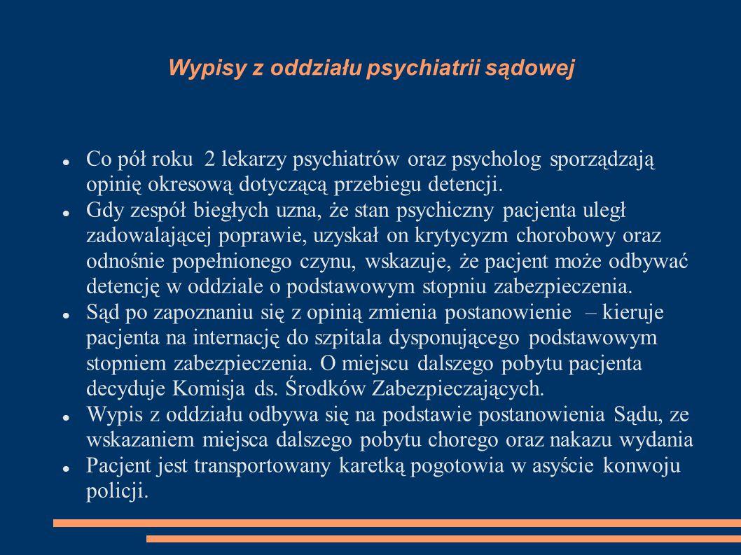 Wypisy z oddziału psychiatrii sądowej Co pół roku 2 lekarzy psychiatrów oraz psycholog sporządzają opinię okresową dotyczącą przebiegu detencji.