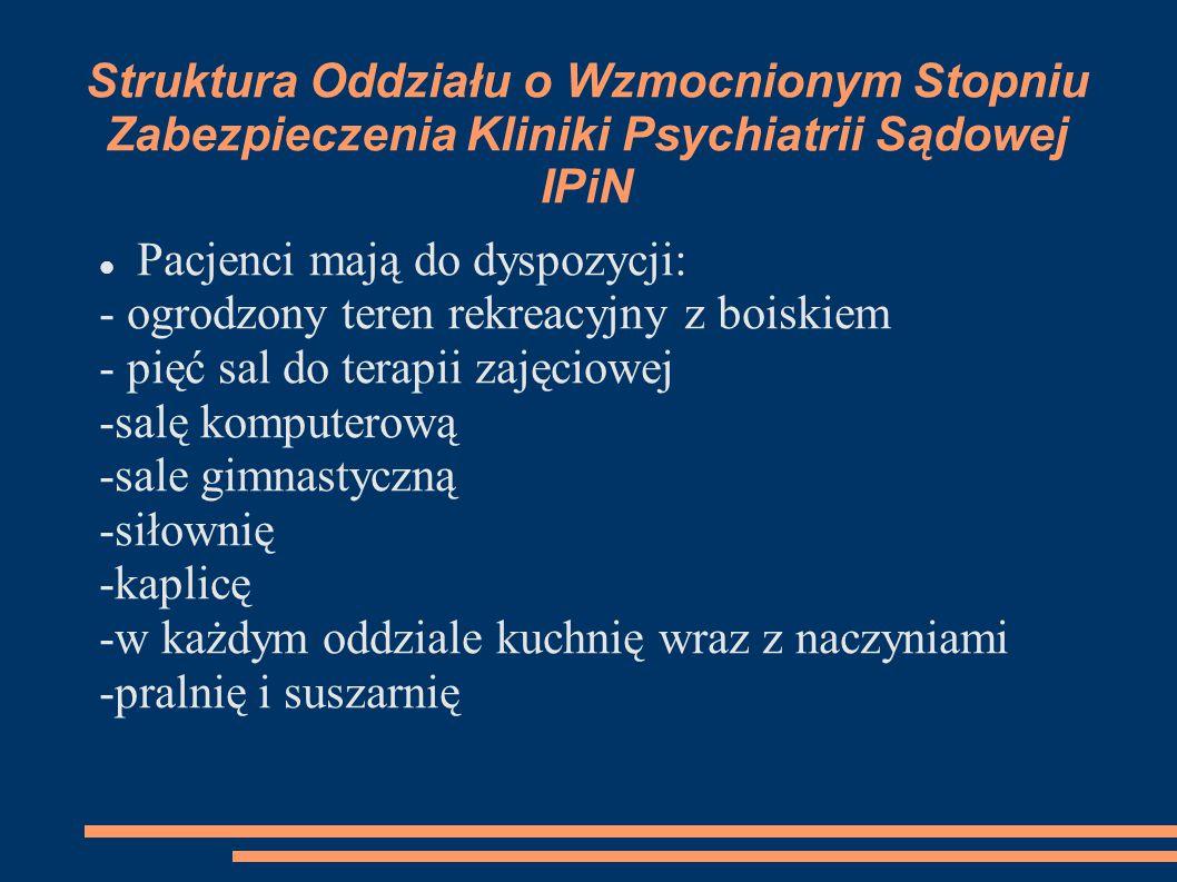 Terapia Zadaniem oddziału psychiatrii sądowej jest leczenie i rehabilitacja pacjentów w tym celu dla każdego pacjenta opracowywane są indywidualne programy terapeutyczne.