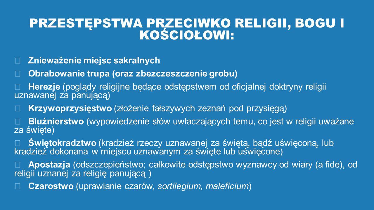 PRZESTĘPSTWA PRZECIWKO RELIGII, BOGU I KOŚCIOŁOWI:  Znieważenie miejsc sakralnych  Obrabowanie trupa (oraz zbezczeszczenie grobu)  Herezje (poglądy religijne będące odstępstwem od oficjalnej doktryny religii uznawanej za panującą)  Krzywoprzysięstwo (złożenie fałszywych zeznań pod przysięgą)  Bluźnierstwo (wypowiedzenie słów uwłaczających temu, co jest w religii uważane za święte)  Świętokradztwo (kradzież rzeczy uznawanej za świętą, bądź uświęconą, lub kradzież dokonana w miejscu uznawanym za święte lub uświęcone)  Apostazja (odszczepieństwo; całkowite odstępstwo wyznawcy od wiary (a fide), od religii uznanej za religię panującą )  Czarostwo (uprawianie czarów, sortilegium, maleficium)