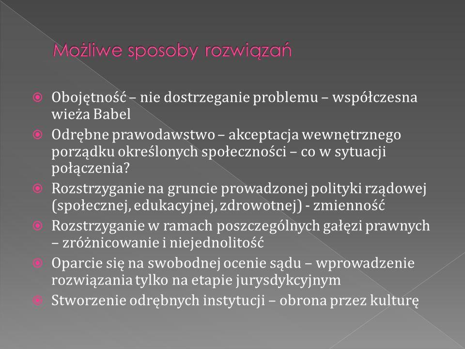  Obojętność – nie dostrzeganie problemu – współczesna wieża Babel  Odrębne prawodawstwo – akceptacja wewnętrznego porządku określonych społeczności