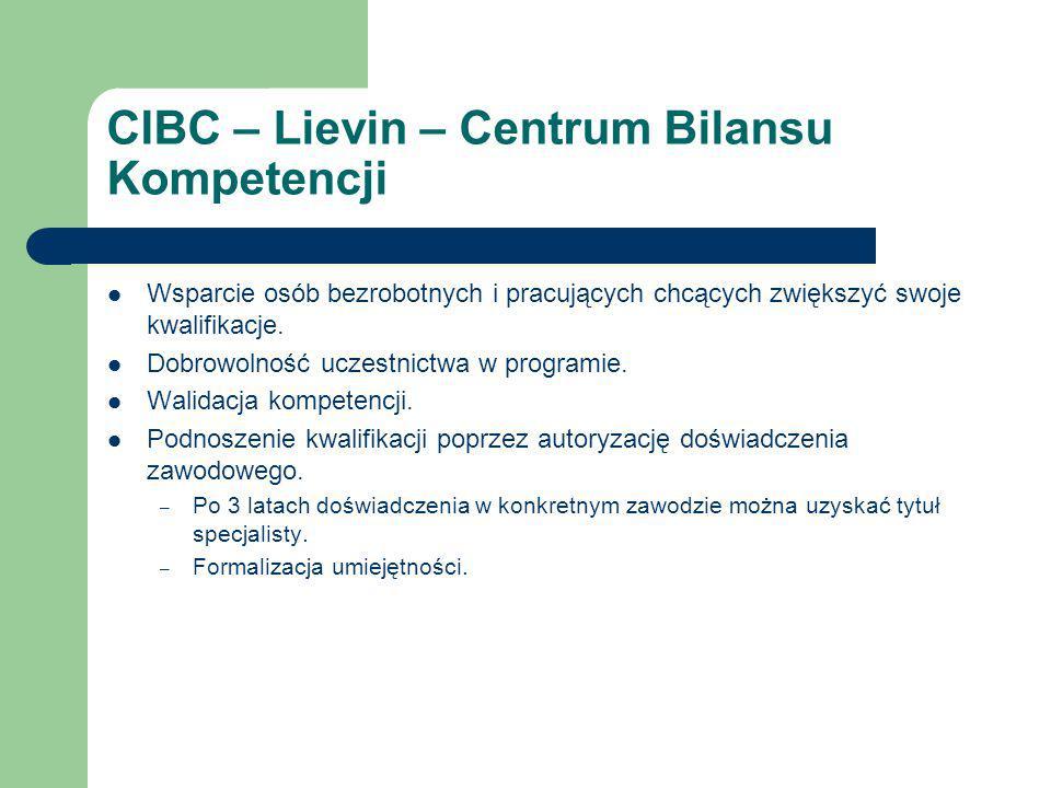CIBC – Lievin – Centrum Bilansu Kompetencji Wsparcie osób bezrobotnych i pracujących chcących zwiększyć swoje kwalifikacje.