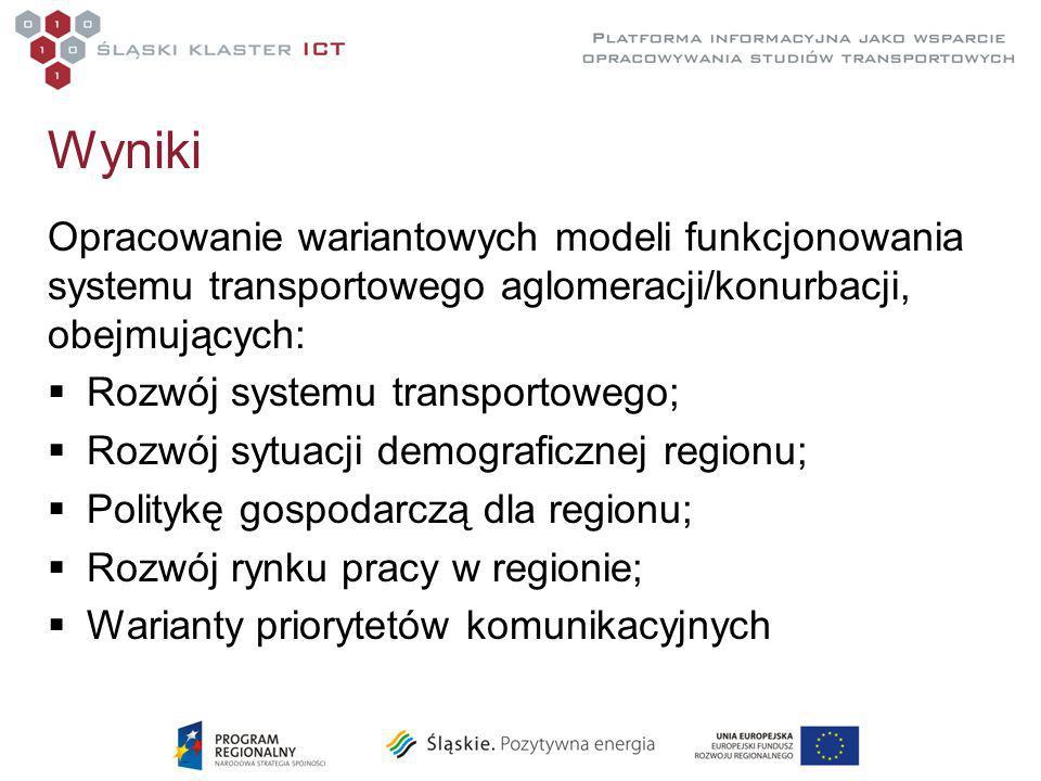 Wyniki Opracowanie wariantowych modeli funkcjonowania systemu transportowego aglomeracji/konurbacji, obejmujących:  Rozwój systemu transportowego;  Rozwój sytuacji demograficznej regionu;  Politykę gospodarczą dla regionu;  Rozwój rynku pracy w regionie;  Warianty priorytetów komunikacyjnych
