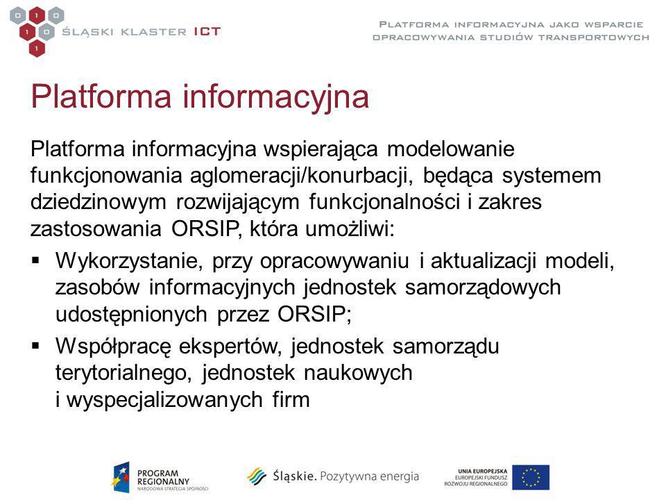 Platforma informacyjna Platforma informacyjna wspierająca modelowanie funkcjonowania aglomeracji/konurbacji, będąca systemem dziedzinowym rozwijającym funkcjonalności i zakres zastosowania ORSIP, która umożliwi:  Wykorzystanie, przy opracowywaniu i aktualizacji modeli, zasobów informacyjnych jednostek samorządowych udostępnionych przez ORSIP;  Współpracę ekspertów, jednostek samorządu terytorialnego, jednostek naukowych i wyspecjalizowanych firm