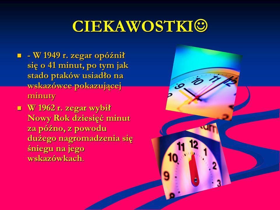 CIEKAWOSTKI CIEKAWOSTKI - W 1949 r. zegar opóźnił się o 41 minut, po tym jak stado ptaków usiadło na wskazówce pokazującej minuty - W 1949 r. zegar op