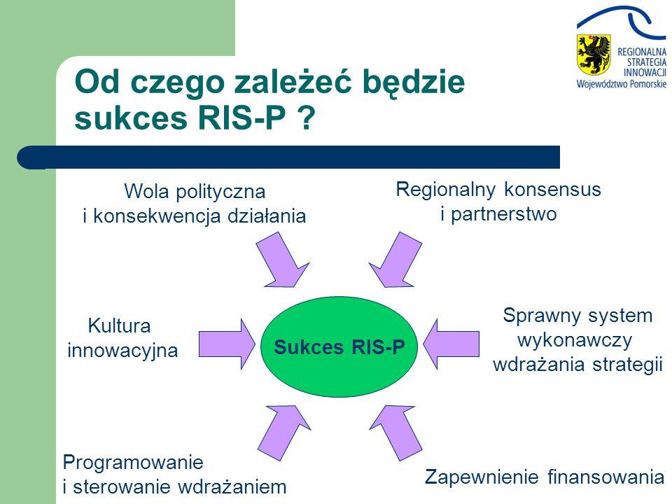 Sukces RIS-P Wola polityczna i konsekwencja działania Sprawny system wykonawczy wdrażania strategii Zapewnienie finansowania Regionalny konsensus i pa