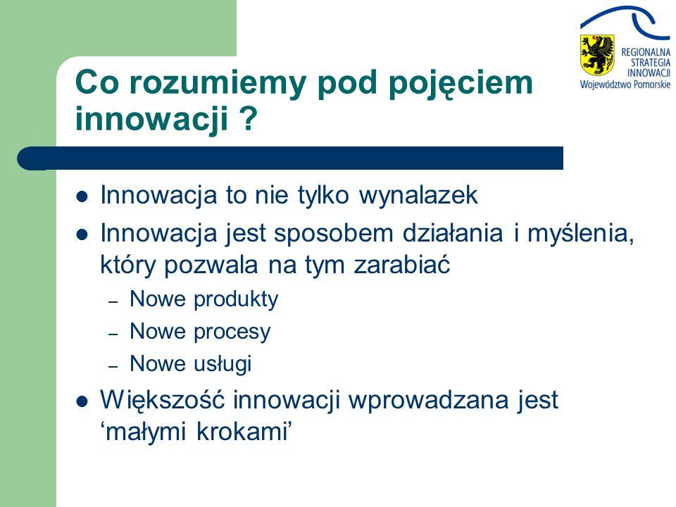Co rozumiemy pod pojęciem innowacji ? Innowacja to nie tylko wynalazek Innowacja jest sposobem działania i myślenia, który pozwala na tym zarabiać – N
