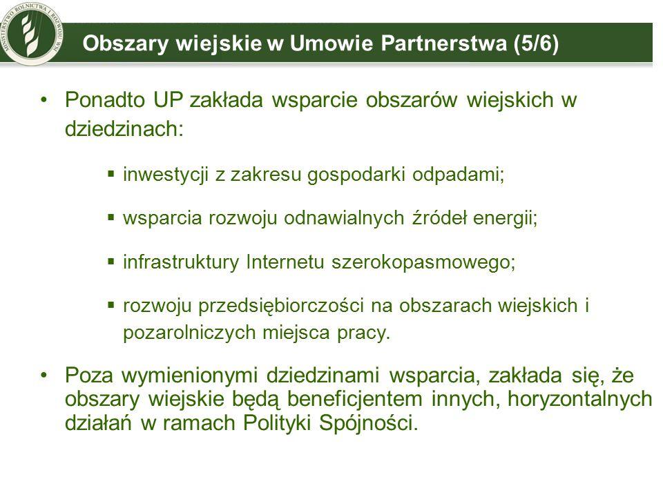 Obszary wiejskie w Umowie Partnerstwa (5/6) Ponadto UP zakłada wsparcie obszarów wiejskich w dziedzinach:  inwestycji z zakresu gospodarki odpadami;