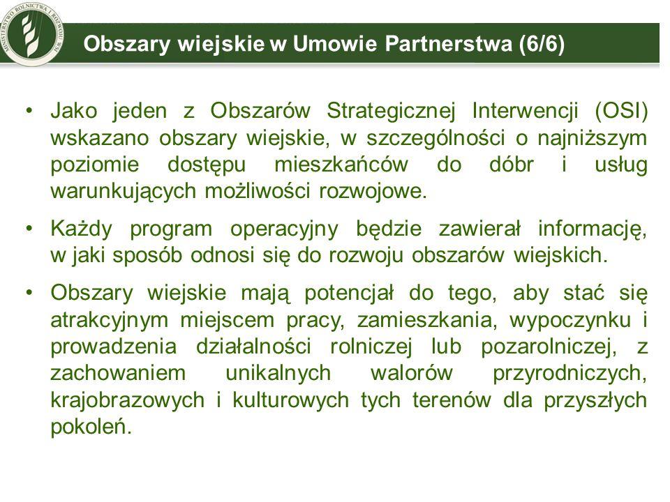 Obszary wiejskie w Umowie Partnerstwa (6/6) Jako jeden z Obszarów Strategicznej Interwencji (OSI) wskazano obszary wiejskie, w szczególności o najniższym poziomie dostępu mieszkańców do dóbr i usług warunkujących możliwości rozwojowe.