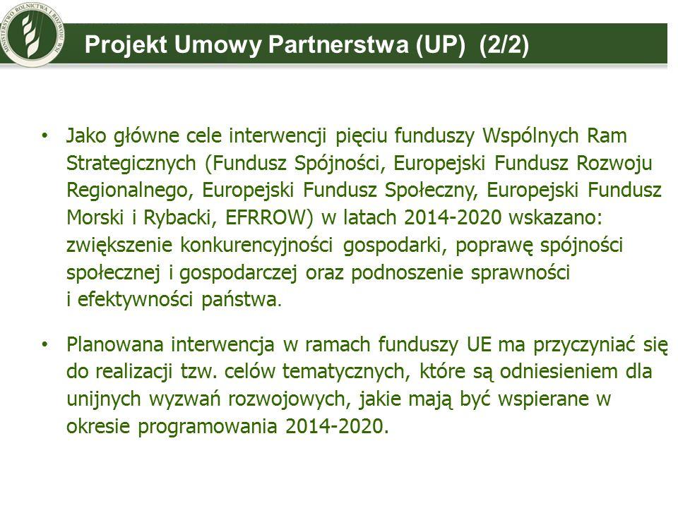 Projekt Umowy Partnerstwa (UP) (2/2) Jako główne cele interwencji pięciu funduszy Wspólnych Ram Strategicznych (Fundusz Spójności, Europejski Fundusz Rozwoju Regionalnego, Europejski Fundusz Społeczny, Europejski Fundusz Morski i Rybacki, EFRROW) w latach 2014-2020 wskazano: zwiększenie konkurencyjności gospodarki, poprawę spójności społecznej i gospodarczej oraz podnoszenie sprawności i efektywności państwa.