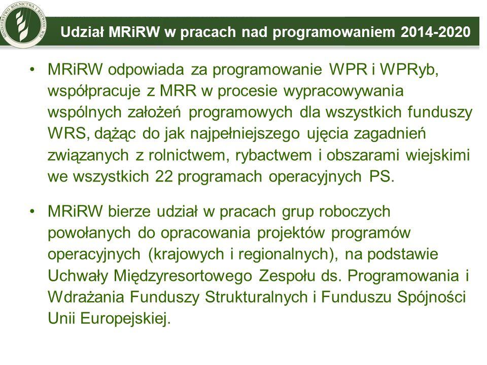 Udział MRiRW w pracach nad programowaniem 2014-2020 MRiRW odpowiada za programowanie WPR i WPRyb, współpracuje z MRR w procesie wypracowywania wspólnych założeń programowych dla wszystkich funduszy WRS, dążąc do jak najpełniejszego ujęcia zagadnień związanych z rolnictwem, rybactwem i obszarami wiejskimi we wszystkich 22 programach operacyjnych PS.