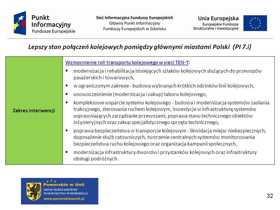 32 Lepszy stan połączeń kolejowych pomiędzy głównymi miastami Polski (PI 7.i) Zakres interwencji Wzmocnienie roli transportu kolejowego w sieci TEN-T:  modernizacja i rehabilitacja istniejących szlaków kolejowych służących do przewozów pasażerskich i towarowych,  w ograniczonym zakresie - budowa wybranych krótkich odcinków linii kolejowych,  unowocześnienie (modernizacja i zakup) taboru kolejowego,  kompleksowe wsparcie systemu kolejowego - budowa i modernizacja systemów zasilania trakcyjnego, sterowania ruchem kolejowym, inwestycje w infrastrukturę systemów usprawniających zarządzanie przewozami, poprawa stanu technicznego obiektów inżynieryjnych oraz zakup specjalistycznego sprzętu technicznego,  poprawa bezpieczeństwa w transporcie kolejowym - likwidacja miejsc niebezpiecznych, doposażenie służb ratowniczych, tworzenie centralnych systemów monitorowania bezpieczeństwa ruchu kolejowego oraz organizacja kampanii społecznych,  modernizacja infrastruktury dworców i przystanków kolejowych oraz infrastruktury obsługi podróżnych.
