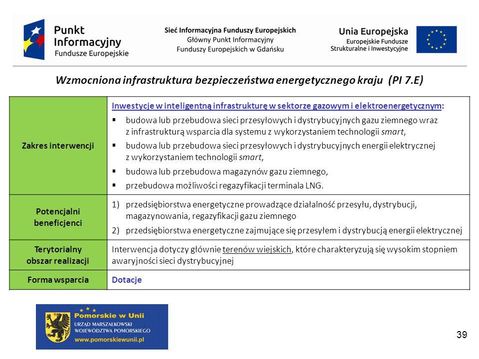 39 Wzmocniona infrastruktura bezpieczeństwa energetycznego kraju (PI 7.E) Zakres interwencji Inwestycje w inteligentną infrastrukturę w sektorze gazowym i elektroenergetycznym:  budowa lub przebudowa sieci przesyłowych i dystrybucyjnych gazu ziemnego wraz z infrastrukturą wsparcia dla systemu z wykorzystaniem technologii smart,  budowa lub przebudowa sieci przesyłowych i dystrybucyjnych energii elektrycznej z wykorzystaniem technologii smart,  budowa lub przebudowa magazynów gazu ziemnego,  przebudowa możliwości regazyfikacji terminala LNG.