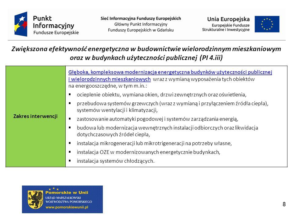 8 Zwiększona efektywność energetyczna w budownictwie wielorodzinnym mieszkaniowym oraz w budynkach użyteczności publicznej (PI 4.iii) Zakres interwencji Głęboka, kompleksowa modernizacja energetyczna budynków użyteczności publicznej i wielorodzinnych mieszkaniowych wraz z wymianą wyposażenia tych obiektów na energooszczędne, w tym m.in.:  ocieplenie obiektu, wymiana okien, drzwi zewnętrznych oraz oświetlenia,  przebudowa systemów grzewczych (wraz z wymianą i przyłączeniem źródła ciepła), systemów wentylacji i klimatyzacji,  zastosowanie automatyki pogodowej i systemów zarządzania energią,  budowa lub modernizacja wewnętrznych instalacji odbiorczych oraz likwidacja dotychczasowych źródeł ciepła,  instalacja mikrogeneracji lub mikrotrigeneracji na potrzeby własne,  instalacja OZE w modernizowanych energetycznie budynkach,  instalacja systemów chłodzących.