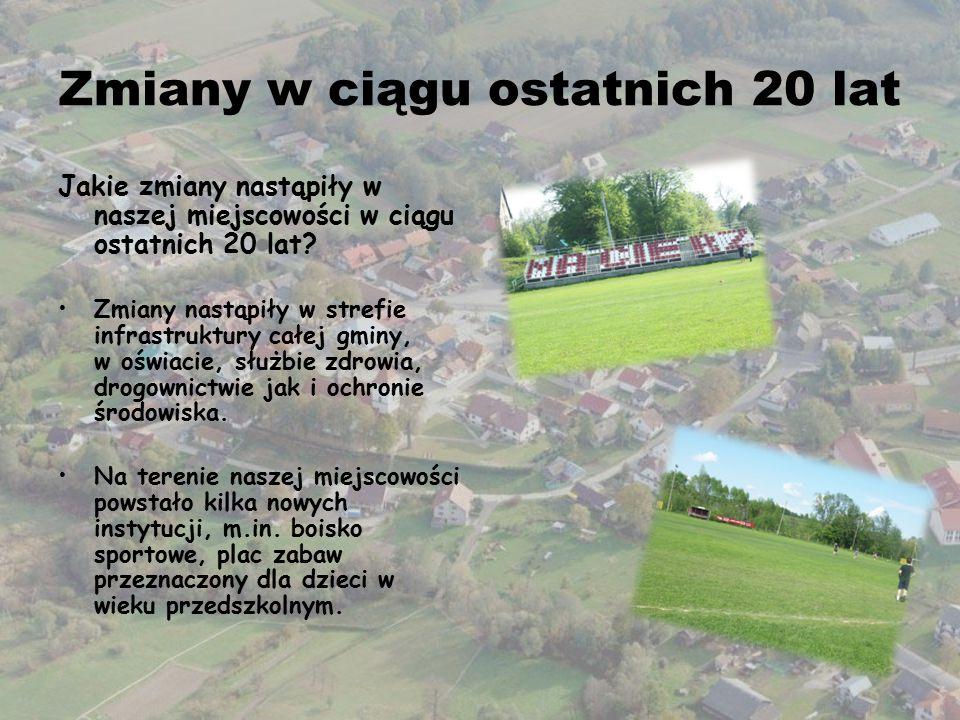 Zmiany w ciągu ostatnich 20 lat Jakie zmiany nastąpiły w naszej miejscowości w ciągu ostatnich 20 lat? Zmiany nastąpiły w strefie infrastruktury całej