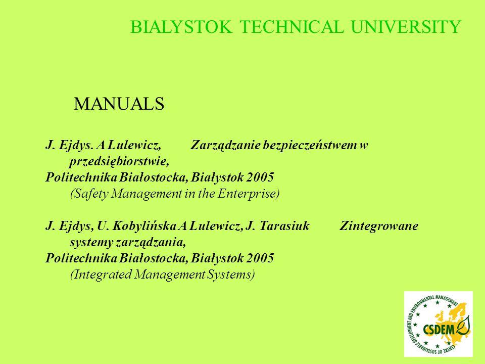 MANUALS J. Ejdys. A Lulewicz, Zarządzanie bezpieczeństwem w przedsiębiorstwie, Politechnika Białostocka, Białystok 2005 (Safety Management in the Ente