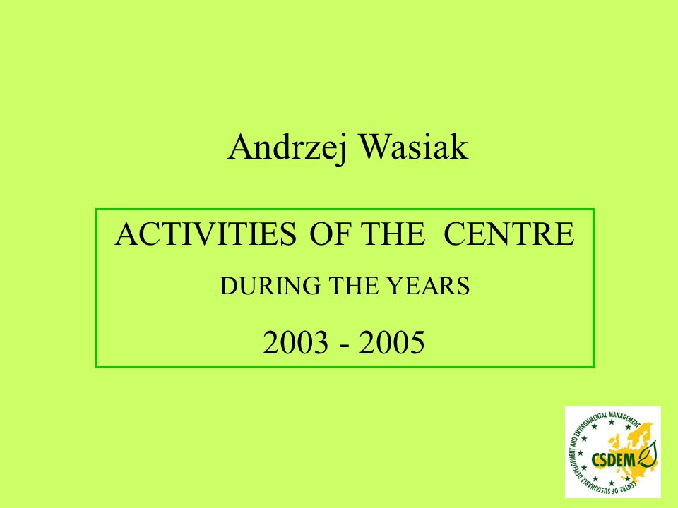 POSTGRADUATE STUDIES During the academic year 2004/2005: Environmental management (41 participants) – II edition Biological Safety Management (43 participants) – II edition BIALYSTOK TECHNICAL UNIVERSITY