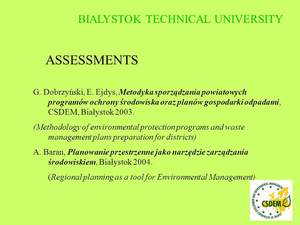 G. Dobrzyński, E. Ejdys, Metodyka sporządzania powiatowych programów ochrony środowiska oraz planów gospodarki odpadami, CSDEM, Białystok 2003. (Metho