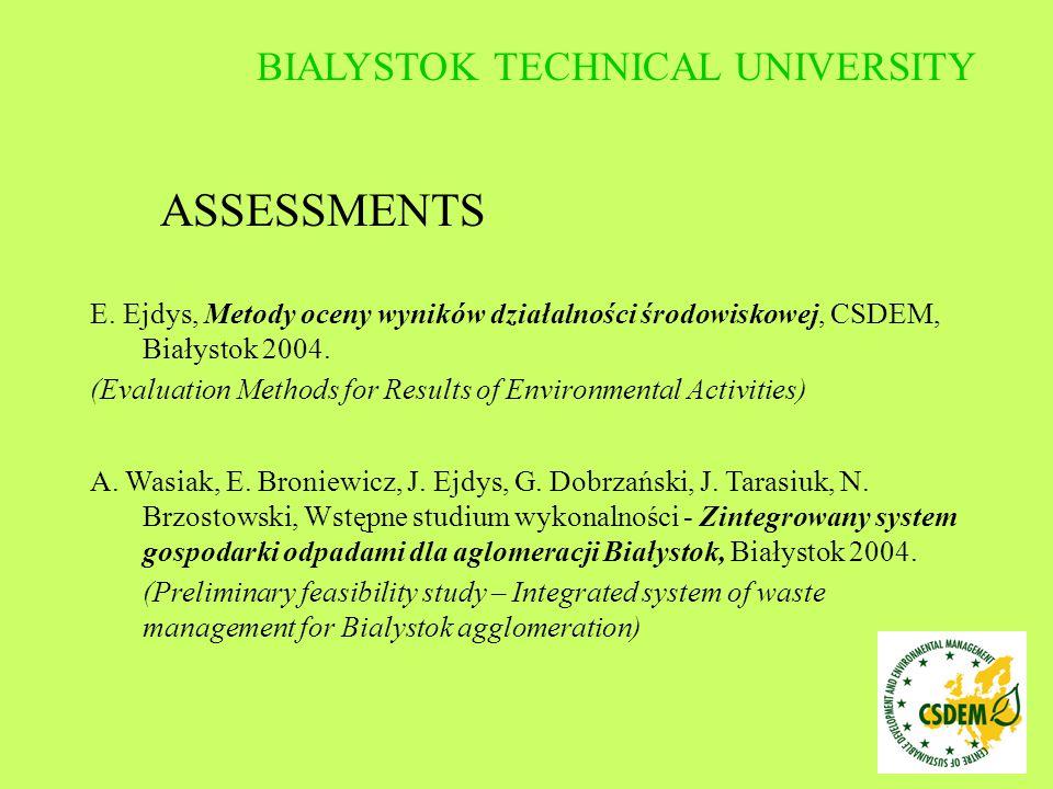E. Ejdys, Metody oceny wyników działalności środowiskowej, CSDEM, Białystok 2004. (Evaluation Methods for Results of Environmental Activities) A. Wasi