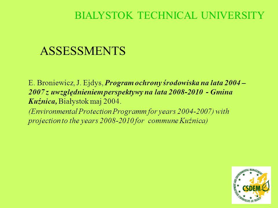 E. Broniewicz, J. Ejdys, Program ochrony środowiska na lata 2004 – 2007 z uwzględnieniem perspektywy na lata 2008-2010 - Gmina Kuźnica, Białystok maj