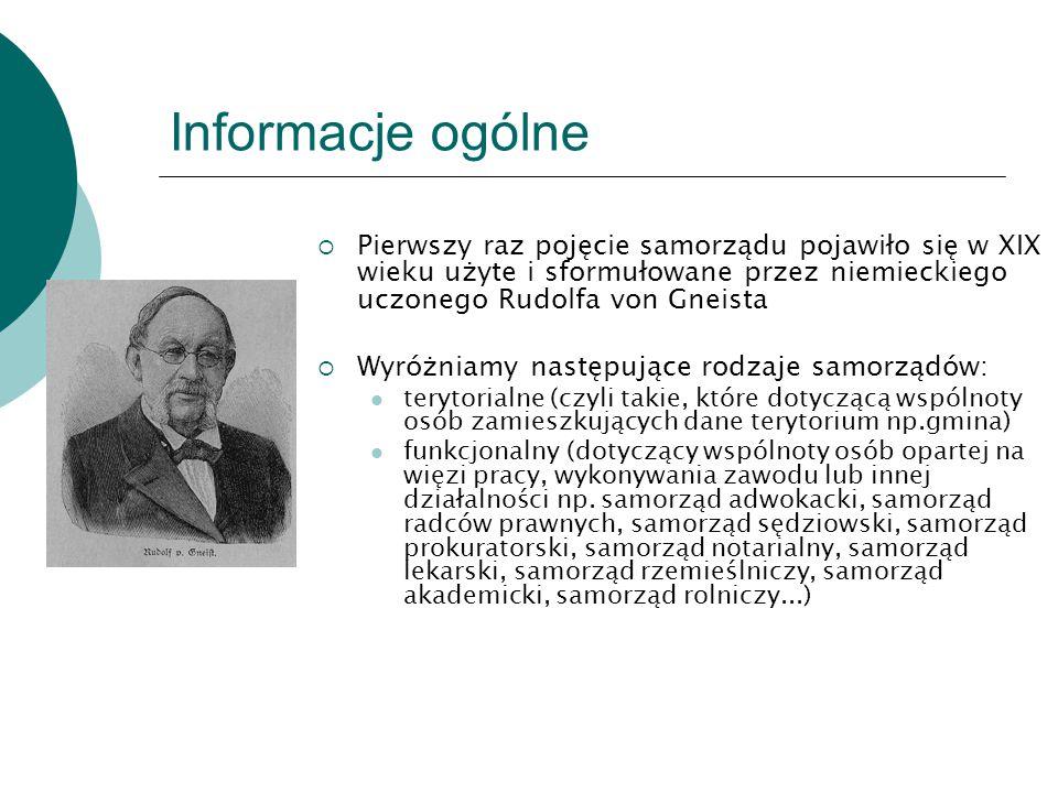 Informacje ogólne  Pierwszy raz pojęcie samorządu pojawiło się w XIX wieku użyte i sformułowane przez niemieckiego uczonego Rudolfa von Gneista  Wyr
