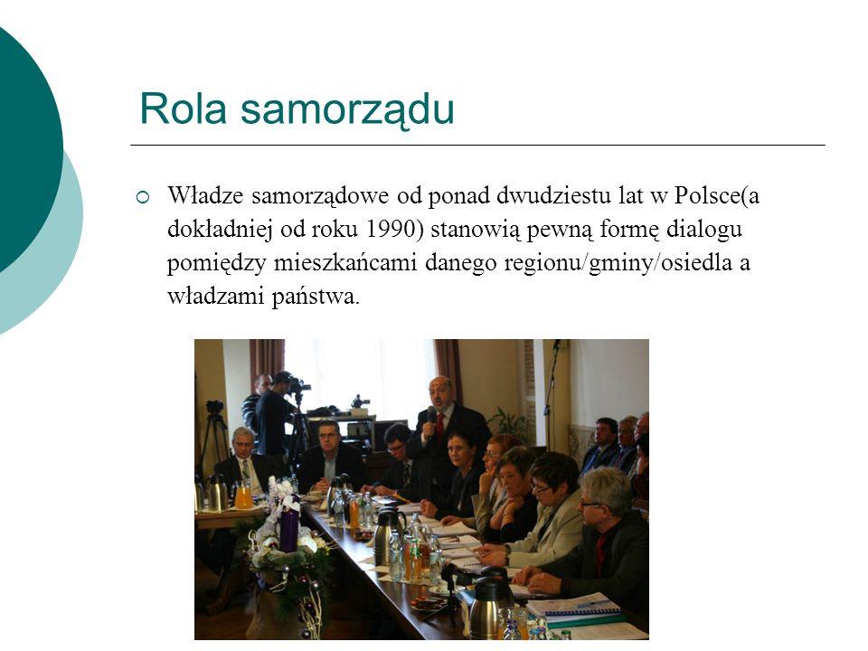 Rola samorządu  Władze samorządowe od ponad dwudziestu lat w Polsce(a dokładniej od roku 1990) stanowią pewną formę dialogu pomiędzy mieszkańcami dan