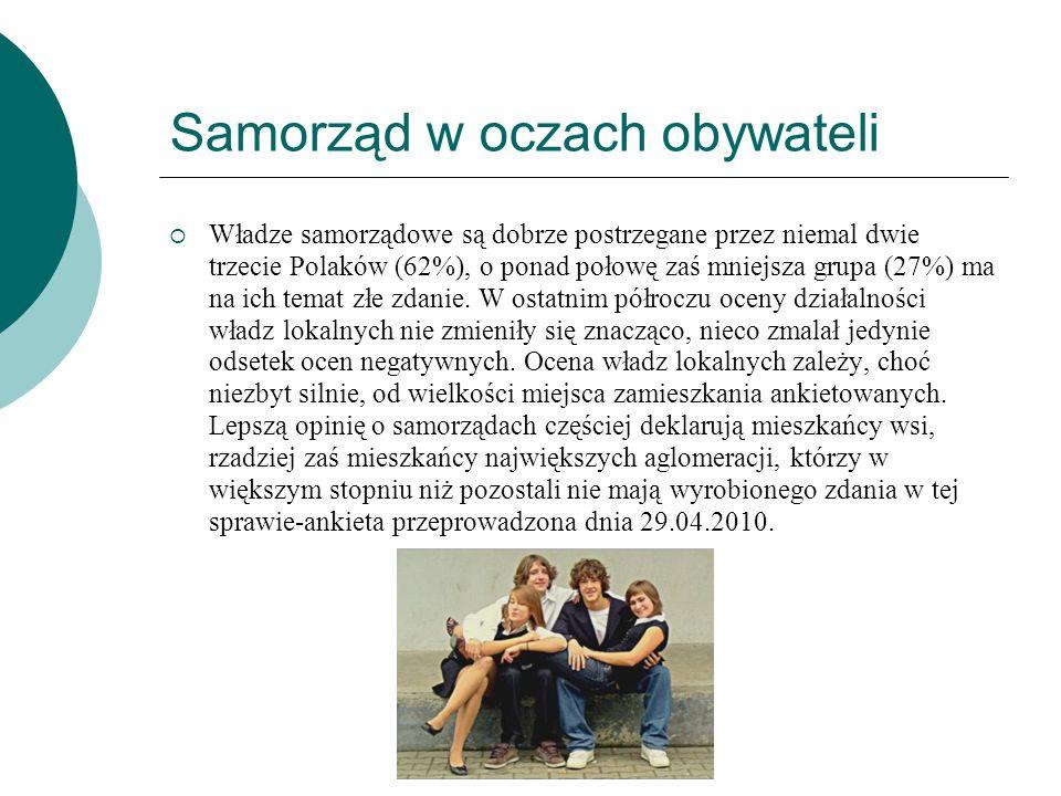 Samorząd w oczach obywateli  Władze samorządowe są dobrze postrzegane przez niemal dwie trzecie Polaków (62%), o ponad połowę zaś mniejsza grupa (27%