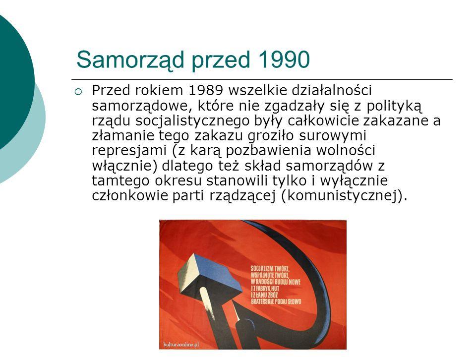 Samorząd przed 1990  Przed rokiem 1989 wszelkie działalności samorządowe, które nie zgadzały się z polityką rządu socjalistycznego były całkowicie za