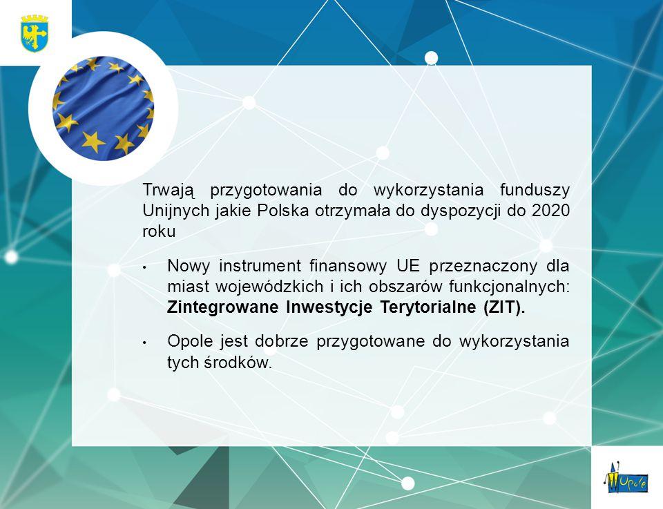 Trwają przygotowania do wykorzystania funduszy Unijnych jakie Polska otrzymała do dyspozycji do 2020 roku Nowy instrument finansowy UE przeznaczony dla miast wojewódzkich i ich obszarów funkcjonalnych: Zintegrowane Inwestycje Terytorialne (ZIT).