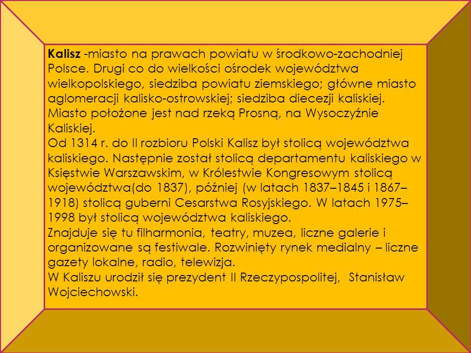 Kalisz -miasto na prawach powiatu w środkowo-zachodniej Polsce. Drugi co do wielkości ośrodek województwa wielkopolskiego, siedziba powiatu ziemskiego