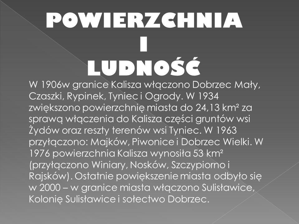 W 1906w granice Kalisza włączono Dobrzec Mały, Czaszki, Rypinek, Tyniec i Ogrody. W 1934 zwiększono powierzchnię miasta do 24,13 km² za sprawą włączen