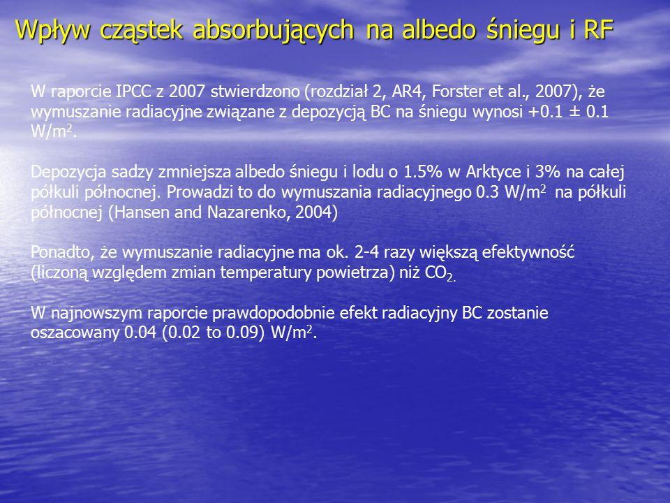 Wpływ cząstek absorbujących na albedo śniegu i RF W raporcie IPCC z 2007 stwierdzono (rozdział 2, AR4, Forster et al., 2007), że wymuszanie radiacyjne