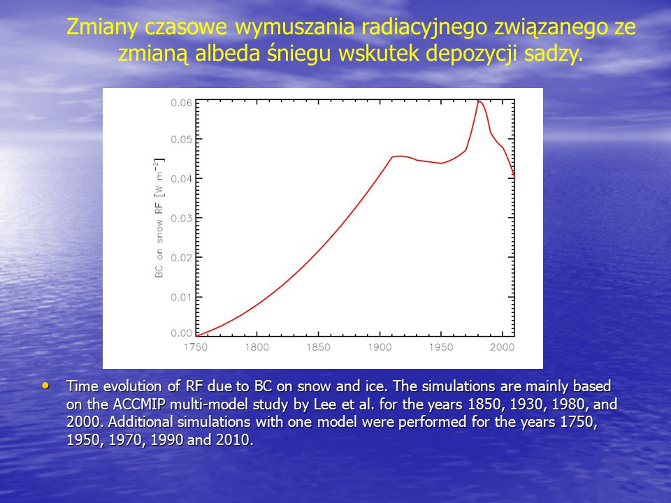 Time evolution of RF due to BC on snow and ice. The simulations are mainly based on the ACCMIP multi-model study by Lee et al. for the years 1850, 193