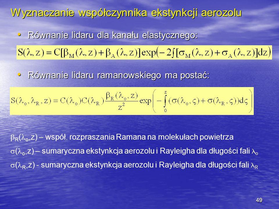 49 Wyznaczanie współczynnika ekstynkcji aerozolu Równanie lidaru dla kanału elastycznego: Równanie lidaru dla kanału elastycznego: Równanie lidaru ram