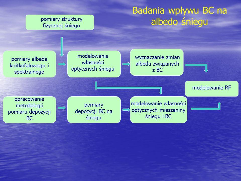 pomiary albeda krótkofalowego i spektralnego opracowanie metodologii pomiaru depozycji BC pomiary depozycji BC na śniegu modelowanie RF pomiary strukt